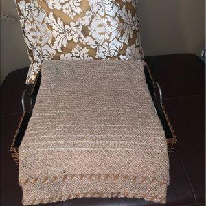 Agnona alpaca/wool/leather trim throw